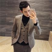 套装 一粒扣小西装 男士 秋冬季韩版 修身 发型师西服三件套新伴郎镭穹