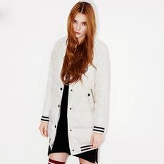 2016冬季新款加厚韩版字母羽绒服女中长款棒球服外套
