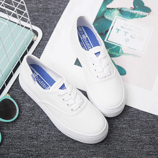 代购夏明星同款休闲小白鞋女系带韩版帆布鞋学生厚底布鞋白色板鞋