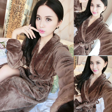 家居服浴衣睡袍睡衣浴袍男女秋冬季加厚法兰绒长袖可爱珊瑚绒情侣