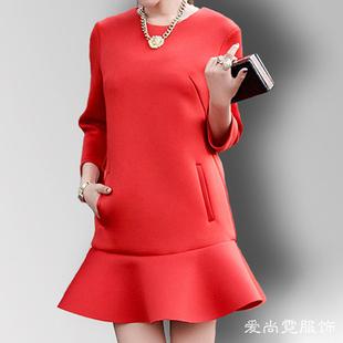 包邮2016新款韩版红色太空棉荷叶边蓬蓬鱼尾连衣裙打底裙女七分袖