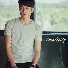 短袖T恤新款韩版潮纯色V领修身T恤青少年半袖粉色打底衫