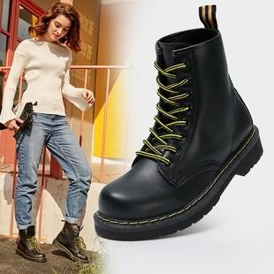 秋冬季加绒马丁靴女英伦风平底短靴高帮皮靴学生机车靴子女鞋单靴