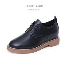 小皮鞋女英伦学院风平底休闲鞋布洛克单鞋韩版系带小白鞋女鞋秋季