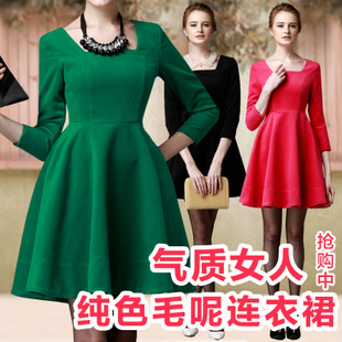 方领连衣裙厚款秋冬季高腰呢子裙妮子A字裙女式大码修身显瘦裙子