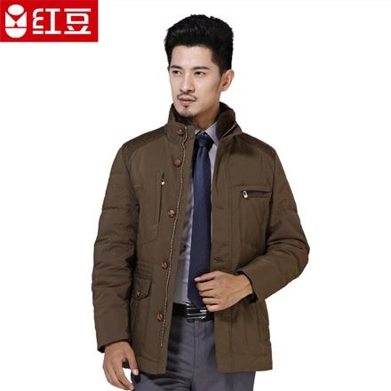红豆男士羽绒服商务加厚保暖毛领立领时尚绅士羽绒服男外套7503