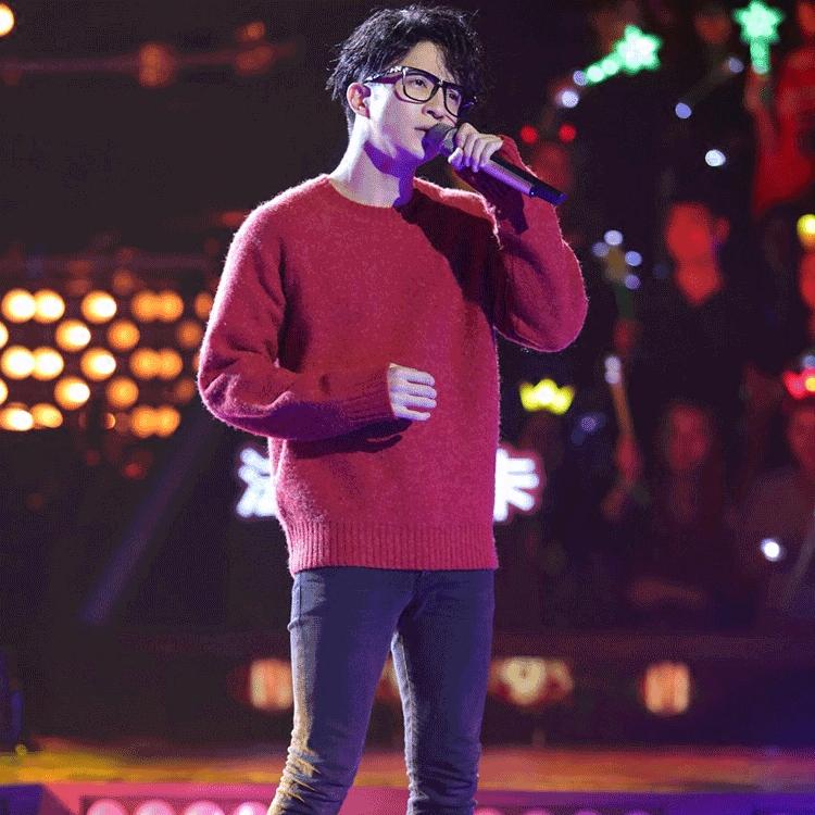 现货中国新歌声薛之谦同款红色毛衣套头男女同款秋冬上衣打底衫潮毛衣男
