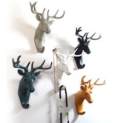 壁饰美式创意鹿头壁挂客厅墙壁墙面装饰挂钩卧室复古欧式动物立体
