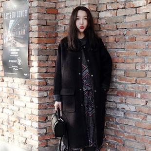 新款宽松韩版显瘦大码加厚呢子大衣宽松茧型中长款毛呢外套女秋冬
