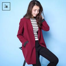 拉夏贝尔7m莫丽菲尔新款简洁纯色长袖中长款西装外套女70005705