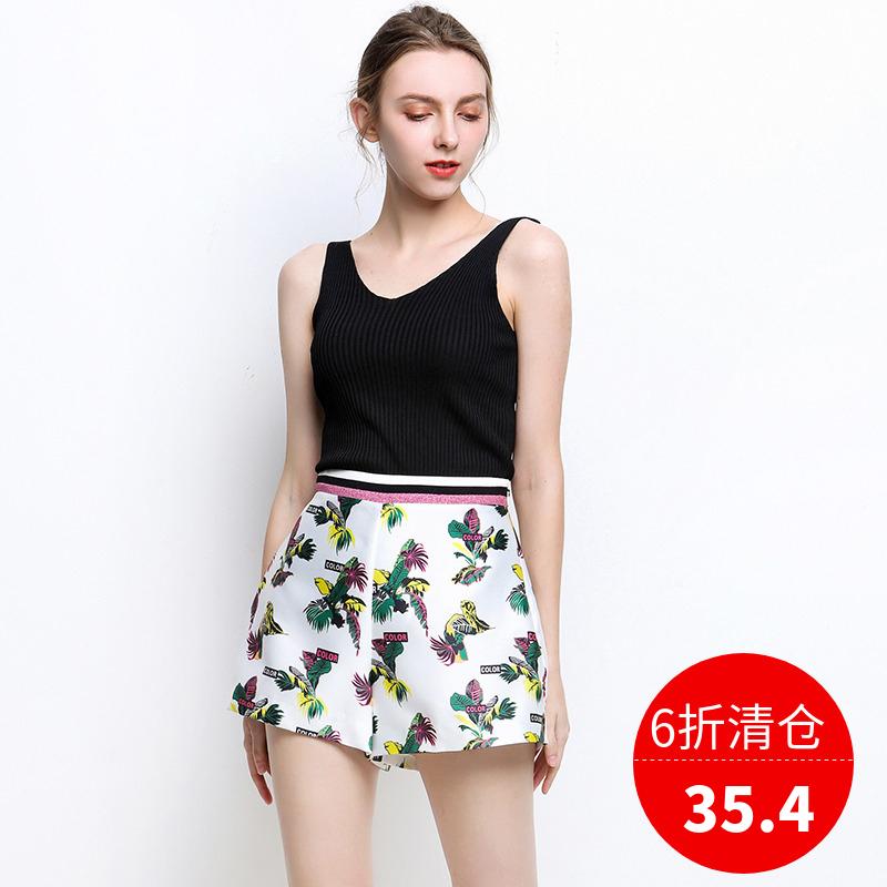 米可系列 高端女装品牌折扣 夏装2018新款正品 高腰印花百搭短裤图片