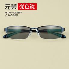 超轻半框变色眼镜近视 男款小脸近视太阳镜 防辐射防蓝光平光眼镜