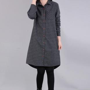 2019春秋新款女装大码胖mm宽松棉麻条纹衬衫裙中长款显瘦长袖衬衣