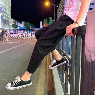 男士日系复古宽松棉麻休闲短裤九分裤夏季加肥加大码哈伦9分裤男