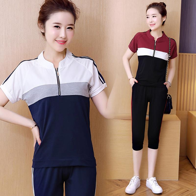 休闲运动套装女 新款夏季韩版时尚卫衣中青年短袖T恤七分裤两件套图片