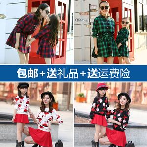 秋装格子亲子装修身收腰韩版休闲母女装印花两件套连衣裙气质套装亲子装
