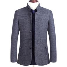 毛呢外套男短款加棉加厚毛呢夹克男中年商务休闲爸爸立领羊毛夹克