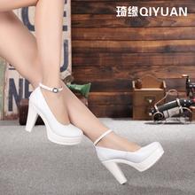 真皮单鞋 天天特价 防水台白色模特旗袍t台走秀演出粗高跟工作鞋