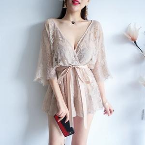 苗苗家夏季新款女装性感V领绑带系带修身显瘦短蕾丝连体裤女3088