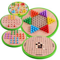 儿童玩具五合一木质制飞行棋五子棋亲子桌面游戏 宝宝益智力跳棋