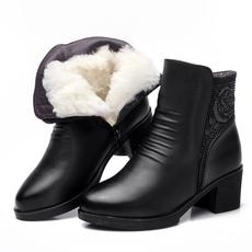 冬季女短靴真皮加绒棉靴女加厚羊毛保暖靴子妈妈棉鞋中跟女靴女鞋
