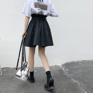 花苞裙女2018夏季新款韩版高腰a字裙绑带ins半身裙学生a字<span class=H>短裙</span>子