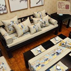 新实木沙发坐垫现代中式刺绣布艺海绵垫子定制红木沙发垫四季通用