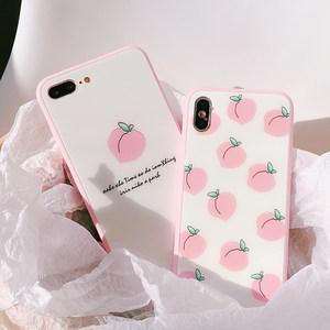 夏日清新桃子iPhone8plus<span class=H>手机壳</span>6s硅胶软壳7P粉色玻璃壳苹果X女款