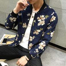 春秋新品时尚印花男士棒球服帅气碎花夹克衫潮流韩版男装休闲外套