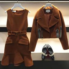 大码女装2017秋冬新款胖mm减龄两件套胖妹妹显瘦洋气最爱藏肉套装