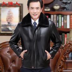 中老年爸爸装 2018新款 大牌人皮衣男外套男士 皮夹克男装 加绒脱卸领