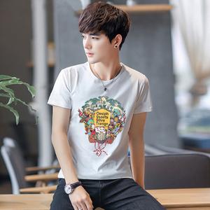创意印花T恤男短袖圆领休闲修身半截袖夏季男装2018新款潮流棉