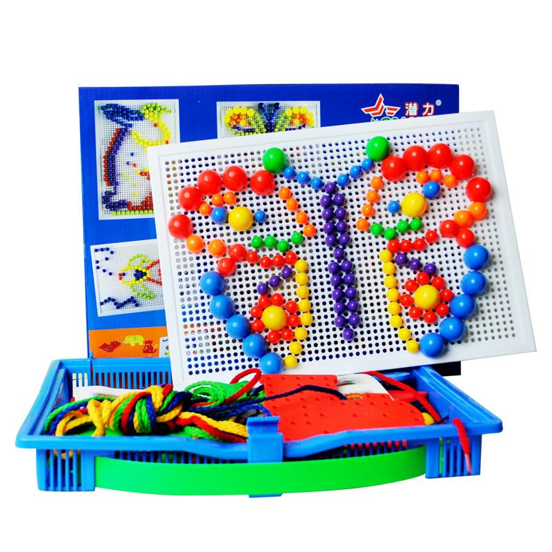 潜力蘑菇钉组合插板玩具蘑菇丁拼插拼图儿童玩具益智3-7岁以上