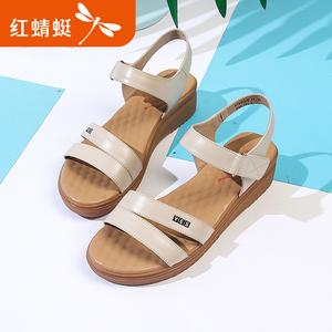 红蜻蜓女鞋2018夏季新款真皮舒适软底增高凉鞋休闲百搭平底女凉鞋真皮凉鞋