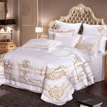 雅牧欧式奢华纯棉床品十件套纯色套件白色美式床品四六八多件套