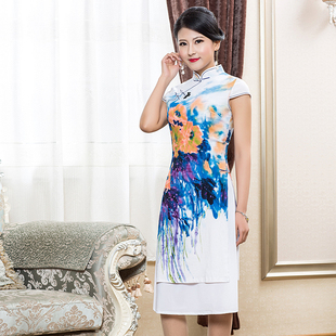 奥黛旗袍裙夏2018新款气质淑女民族风中长款棉麻裙子中国风连衣裙