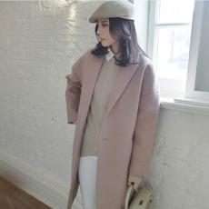 2016秋冬新款茧型毛呢外套女韩版中长款廓型宽松大码呢子大衣女装