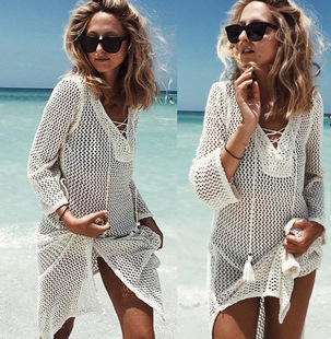 2018tied rope loose hook flower hollow knitted bikini blouse