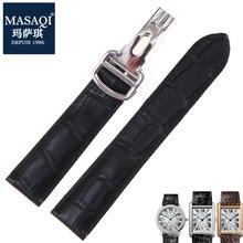 玛萨琪 适合卡地亚坦克solo系列卡历博系列牛皮表带鳄鱼纹手表带