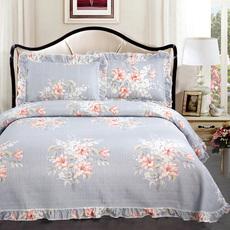 韩国花边绗缝被床盖三件套衍缝夹棉床单床铺盖多功能双人床罩床品
