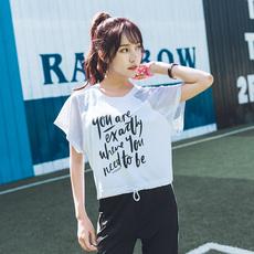 短款运动罩衫女健身宽松性感镂空透气网纱跑步上衣女T恤夏季新款