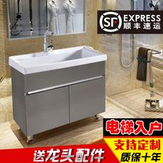 不锈钢洗衣柜组合阳台超深陶瓷盆带搓板洗衣池卫生间卫浴柜浴室柜