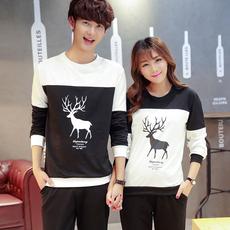 秋季情侣装新款韩版印花字母男女修身长袖T恤圆领打底衫学生班服