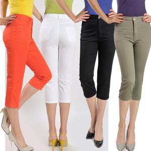 夏款妈妈裤中老年高腰女裤<span class=H>直筒</span><span class=H>中裤</span>七分裤<span class=H>中年</span>女大码休闲裤子西裤
