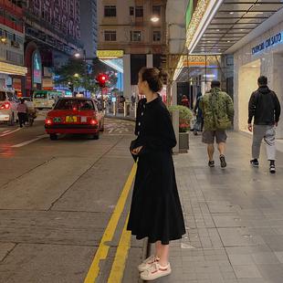 2019春装新款黑色连衣裙女法式复古裙山本超仙过膝打底鱼尾裙子