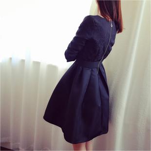 2016冬装新款大码女装胖mm加肥加大码200斤胖妹妹蕾丝打底连衣裙