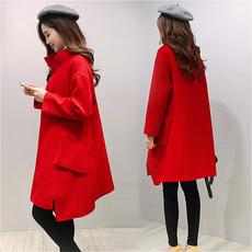 毛呢外套女2017春季新款韩版新款宽松中长款红色茧型羊毛呢子大衣
