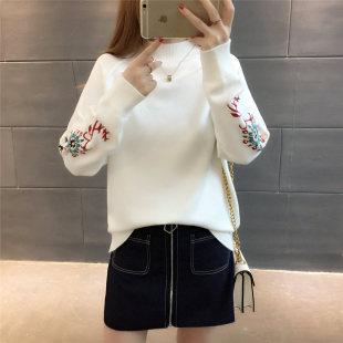 时尚新款套头毛衣女韩版宽松百搭绣花打底针织衫短款学生线衫外套