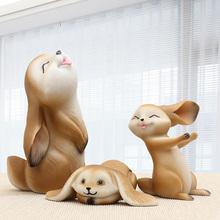 树脂兔子家居装饰品摆件 创意客厅酒柜工艺品摆设可爱卡通小动物