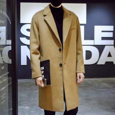 冬季男士加厚毛呢大衣韩版宽松潮流中长款风衣男青年保暖呢子外套
